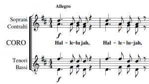 Esempio di coro a 4 voci su due righi